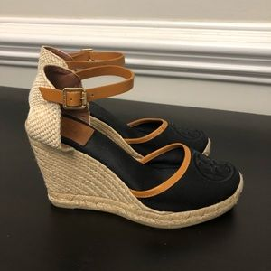 Tory Burch black & tan espadrille wedge shoes
